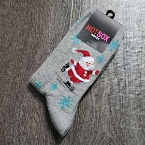 """Hot Sox """"Skating Santas"""" Crew Socks"""